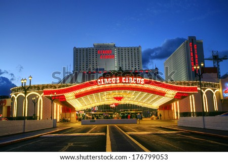 LAS VEGAS JANUARY 31: The Circus Circus hotel and casino on January 31, 2014 in Las Vegas.Circus Circus has the only RV park on the Strip providing additional accommodations in the 399 space park. - stock photo