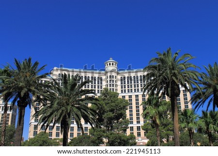 LAS VEGAS - JULY 3: Bellagio Hotel and Casino on the famous Strip on July 3, 2012 In Las Vegas, Nevada. Opened in 1998, the hotel has 3,950 rooms and the casino 116,000 square feet of gaming space. - stock photo