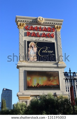 LAS VEGAS - JULY 2: Caesars Palace Hotel and Casino on July 2, 2012 on the famous Strip in Las Vegas, Nevada. Celine Dion has had five years of consecutive sellout shows at the hotel. - stock photo