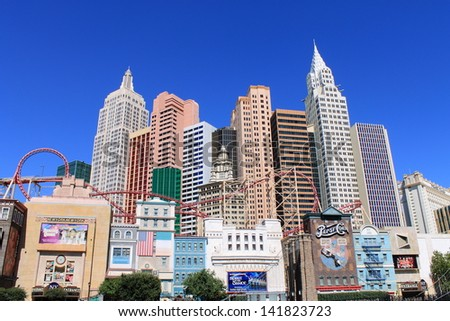 LAS VEGAS - JULY 3: New York Hotel and Casino on July 3, 2012 on the famous Strip in Las Vegas, Nevada. Opened in 1997, the hotel has 2.024 rooms and the casino 84,000 square feet of gaming space. - stock photo