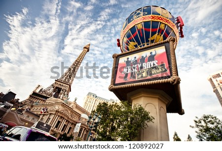 LAS VEGAS - JULY 30: Paris Las Vegas hotel and Casino featured with the theme of Paris in France on July 30, 2012 in Las Vegas, Nevada. - stock photo