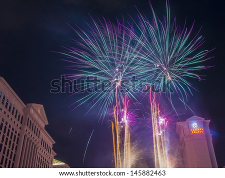 LAS VEGAS - JULY 04 : The Caesars Palace fireworks show as part of the 4th of July celebration in Las Vegas on July 04 2013. - stock photo