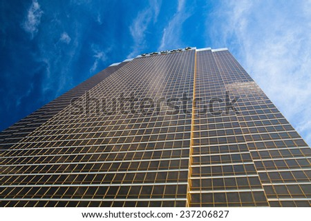 Las Vegas - JULY 11: The Trump hotel Las Vegas.This 64 story hotel has exterior windows coated in 24 carat gold. On July 11 2011 in Las Vegas USA - stock photo