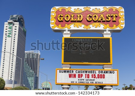 LAS VEGAS - JUNE 14, 2013 - Gold Coast on June 14, 2013  in Las Vegas, NV. Gold Coast features a 70 lane bowling center, 700 seat bingo parlor, 2100 slot machines and 48 table games. - stock photo