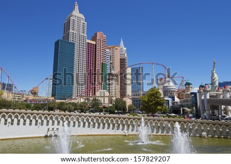 LAS VEGAS - JUNE 26, 2013: New York -New York Hotel & Casino on JUNE 26, 2013 in Las Vegas, Nevada. It' is a luxury hotel and casino located on the famous Las Vegas Strip. The hotel was opened in 1997 - stock photo