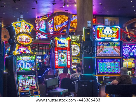 LAS VEGAS - JUNE 14 : The interior of New York-New York Hotel & Casino in Las Vegas on June 14 , 2016. This hotel simulates the real New York City street and It was opened in 1997. - stock photo