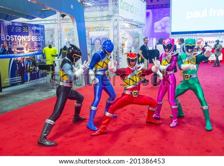 LAS VEGAS - JUNE 17 : The Power Rangers at the Licensing Expo in Las Vegas , Nevada on June 17 2014.  Licensing Expo is the licensing industry's largest annual event - stock photo