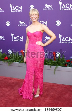 LAS VEGAS - MAR 7:  Beth Behrs arrives at the 2013 Academy of Country Music Awards at the MGM Grand Garden Arena on March 7, 2013 in Las Vegas, NV - stock photo