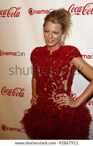 LAS VEGAS - MAR 31: Blake Lively arriving at the CinemaCon awards ceremony at the Pure Nightclub at Caesars Palace in Las Vegas, Nevada on March 31, 2011. - stock photo