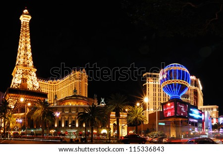 LAS VEGAS - MAR 4: Paris Las Vegas hotel and Casino sign in the shape of the Montgolfier balloon with the theme of Paris in France on March 4, 2010 in Las Vegas, Nevada. - stock photo