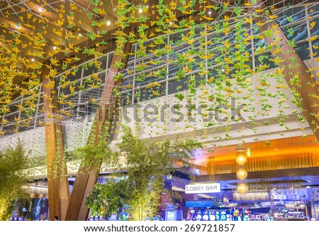 LAS VEGAS - MARCH 26 : The interior of Aria Resort and Casino in Las Vegas on March 26 2015. The Aria was opened on 2009 and is the world's largest hotel to receive LEED Gold certification - stock photo