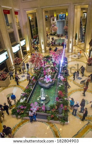 LAS VEGAS - MARCH 15 : The interior of the Venetian hotel & Casino in Las Vegas on March 15 , 2014. With more than 4000 suites it's one of the most famous hotels in the world. - stock photo