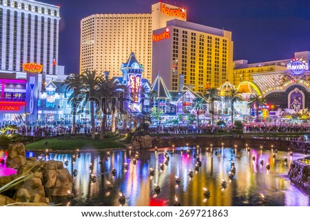 LAS VEGAS - MARCH 18 : View of the strip on March 18 2015 in Las Vegas. The Las Vegas Strip is an approximately 4.2-mile (6.8 km) stretch of Las Vegas Boulevard in Clark County, Nevada. - stock photo