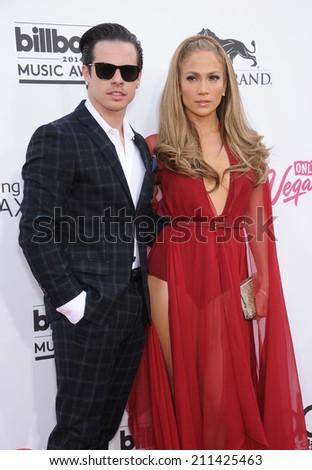 LAS VEGAS - MAY 18:  Jennifer Lopez & Casper Smart arrives to the Billboard Music Awards 2014  on May 18, 2014 in Las Vegas, NV.                 - stock photo