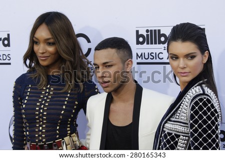 LAS VEGAS - MAY 17: Jourdan Dunn, Olivier Rousteing, Kendall Jenner at the 2015 Billboard Music Awards at the MGM Grand Garden Arena on May 17, 2015 in Las Vegas, Nevada. - stock photo