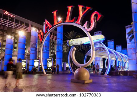 LAS VEGAS - MAY 7: Landmark Bally's Hotel and Casino on the Vegas Strip in Las Vegas, Nevada on May 7, 2012. Formerly the MGM Grand this hotel has 2,814 guestrooms and a 67,000 sq ft casino. - stock photo