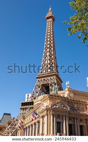 LAS VEGAS - May 14: Paris Las Vegas hotel on may 14, 2008 in Las Vegas, Nevada USA.  Opened in 1999, at a cost of $785 million, it includes a 541-foot (165 m) tall replica of the Eiffel Tower - stock photo