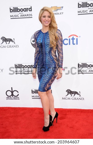 LAS VEGAS - MAY 18:  Shakira arrives to the Billboard Music Awards 2014  on May 18, 2014 in Las Vegas, NY                 - stock photo