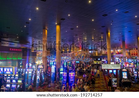 LAS VEGAS - MAY 12 : The interior of New York-New York Hotel & Casino in Las Vegas on May 12 2014; This hotel simulates the real New York City skyline and It was opened in 1997. - stock photo