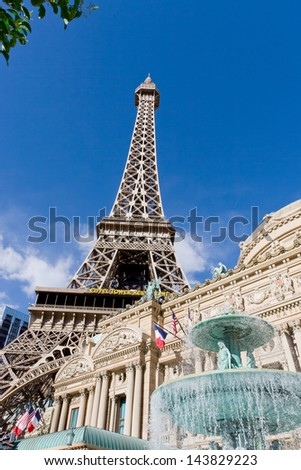 LAS VEGAS - MAY 6: The Paris Hotel and Casino  on May 6, 2008 in Las Vegas, USA.  Hotel Paris located on the Las Vegas Strip and includes replica of the Eiffel Tower. - stock photo