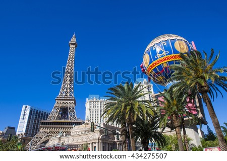LAS VEGAS - MAY 21 : The Paris hotel in Las Vegas, Nevada on May 21 , 2016. The hotel includes a half scale, 541-foot (165 m) tall replica of the Eiffel Tower. - stock photo