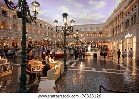 LAS VEGAS, NEVADA - APRIL 11: The Piazza San Marco replica on second floor inside of Venetian Resort Hotel & Casino in Las Vegas on April 11, 2011. The resort was opened on May 3, 1999 - stock photo