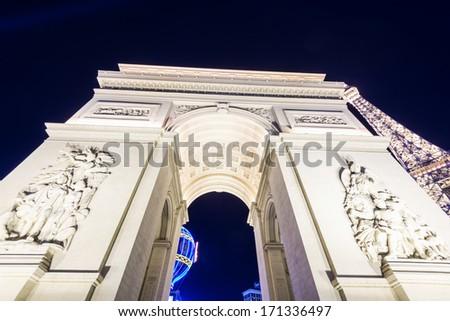 LAS VEGAS, NEVADA - DECEMBER 24:  Arch of Titus at night in Las Vegas, NV, on December 24, 2013. - stock photo