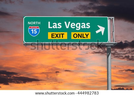 Las Vegas Nevada exit only highway sign with sunrise sky. - stock photo
