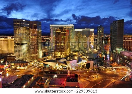 LAS VEGAS, NEVADA-Jan. 22. 2010: CityCenter, urban complex on 76 acres (31 ha) located on the Las Vegas Strip with different hotels & casinos and residence,. - stock photo