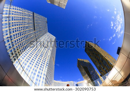 LAS VEGAS, NEVADA - JUL 8, 2015:  Aria Hotels at City Center, urban complex on 76 acres (31 ha) located on the Las Vegas Strip with different hotels, casinos and residence. - stock photo