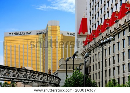 LAS VEGAS, NEVADA - JULY 27, 2013: Excalibur Hotel and Casino; one of many hotels featuring children's attractions; opened June 19, 1990.  - stock photo