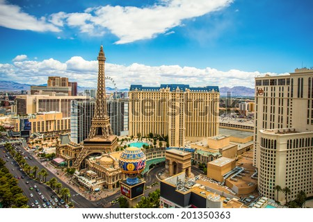 LAS VEGAS, NEVADA - MAY 7, 2014: Above ground view of Las Vegas Strip hotel resorts and casinos. Over 39.7 million people visit Las Vegas each year. - stock photo
