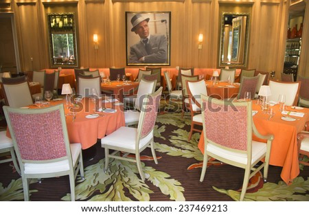 LAS VEGAS, NEVADA - MAY 10: Forbes Travel Guide Four-Star Sinatra Restaurant Interior at Encore Las Vegas Casino on May 10, 2014. It is only Italian restaurant sanctioned by Frank Sinatra's family  - stock photo