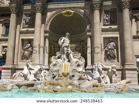 LAS VEGAS, NEVADA - MAY 9, 2014: Trevi Fountain at Caesars Palace Las Vegas Hotel & Casino. Caesars Palace is a luxury hotel and casino located on the Las Vegas Strip with 3,960 rooms in six towers - stock photo