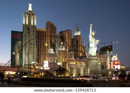 LAS VEGAS, NEVADA - OCT 09: New York-New York Hotel & Casino located on the Vegas Strip in Las Vegas, Nevada on October 9, 2008. This hotel simulates the real New York City skyline. - stock photo