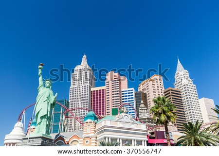 LAS VEGAS, NEVADA - SEPTEMBER 9: Exterior views of the New York, New York Casino on the Las Vegas Strip on September 9, 2015. The New York, New York is a famous and popular luxury casino in Vegas. - stock photo