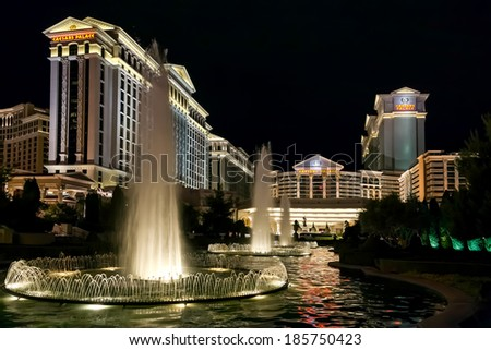 LAS VEGAS, NEVADA/USA - AUGUST 3 : Caesar's Palace illuminated at nightime in Las Vegas on August 3, 2011 - stock photo