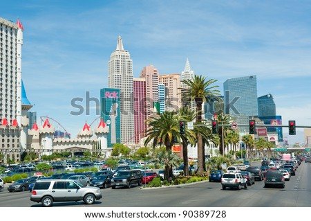 LAS VEGAS, NEVADA, USA - CIRCA APRIL 2011: The Las Vegas Strip is famous for Hotels and Casino - stock photo