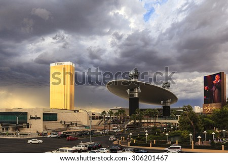 LAS VEGAS, NEVADA USA - July 7 2015: Fashion Show Mall, one of the largest enclosed malls in the world with more than 250 stores . About 40 million people visiting the city each year.  - stock photo