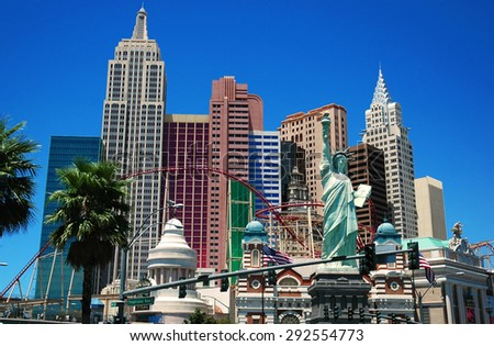 LAS VEGAS, NEVADA, USA, July 19. The famous New York hotel in a clear blue sky. The New York hotel is one of the popular and marvelous hotels in Las Vegas. July 19, 2007, LAS VEGAS, NEVADA, USA - stock photo
