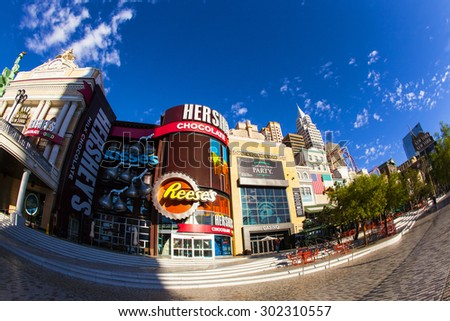 Las Vegas Nevada USA - JUN 9 2015: New York-New York Casino and Hotel architecture facade features many of the New York City icons in Las Vegas, About 40 million people visiting the city each year.  - stock photo
