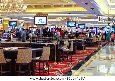 LAS VEGAS, NEVADA, USA - OCTOBER 20 : Casino in the Palazzo Hotel on October 20, 2013 in Las Vegas, Palazzo opened on December 30, 2007. One of the most luxurious hotels in Las Vegas  - stock photo