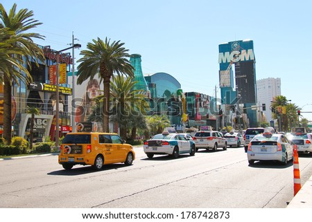 LAS VEGAS, NEVADA, USA - OCTOBER 21, 2013 : City landscape in Las Vegas, Nevada. 40 million tourists visited Las Vegas in 2012 - stock photo