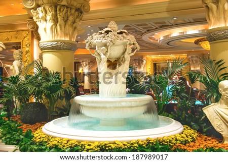 LAS VEGAS, NEVADA, USA - OCTOBER 23, 2013 : Fountain in Caesar's Palace in Las Vegas, Caesar's Palace hotel opened in 1966 and has a Roman Empire theme. - stock photo