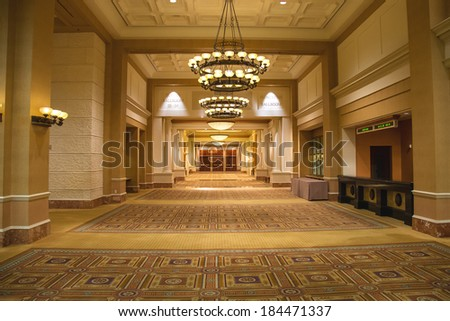 LAS VEGAS, NEVADA, USA - OCTOBER 23, 2013 : Lobby in Caesar's Palace in Las Vegas, Caesar's Palace hotel opened in 1966 and has a Roman Empire theme. - stock photo