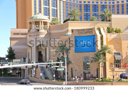 LAS VEGAS, NEVADA, USA - OCTOBER 21, 2013 : Mall Grand Canal Shoppes at The Venetian in Las Vegas. Venetian Hotel  opened on May 3, 1999. One of the most luxurious hotels in Las Vegas  - stock photo