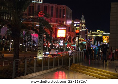 LAS VEGAS, NEVADA, USA - OCTOBER 23, 2013 : Night view of Las Vegas. The Las Vegas Strip is an approximately 4.2-mile stretch of Las Vegas Boulevard South in Clark County, Nevada. - stock photo