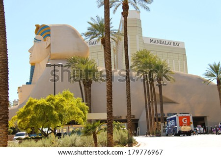 LAS VEGAS, NEVADA, USA - OCTOBER 21, 2013 : Sphinx near Luxor Hotel and Casino in Las Vegas. Theme hotel Egypt and it was opened in 1993 - stock photo