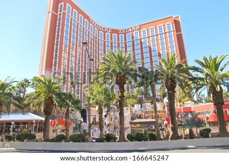 LAS VEGAS, NEVADA, USA - OCTOBER 20 : Treasure Island hotel and casino on October 20, 2013 in Las Vegas,  This Caribbean themed resort has an hotel with 2,884 rooms, and located on  Las Vegas Strip  - stock photo
