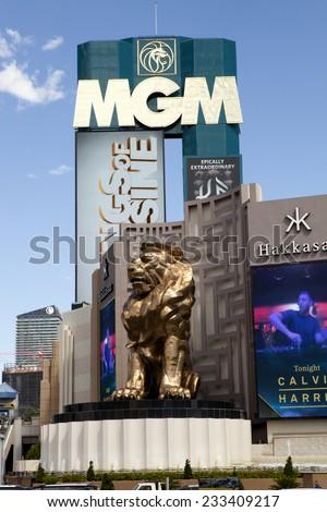 Las Vegas, Nevada, USA - Sept. 22, 2014: MGM Grand Las Vegas Casino and Hotel is located on the Las Vegas strip at Tropicana Blvd in Las Vegas, Nevada, USA on Sept. 22, 2014: - stock photo